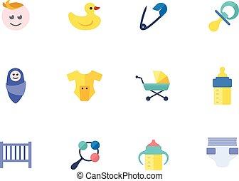 couleur, plat, -, bébés, icônes