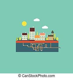 couleur, plat, contours, paysage, urbain