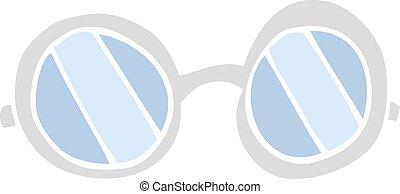couleur, plat, dessin animé, illustration, lunettes