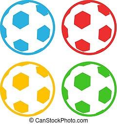 couleur, plat, football, conception, balle