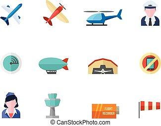 couleur, plat, icônes, -, aviation