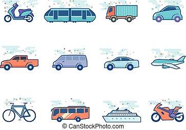 couleur, plat, icônes, -, transport
