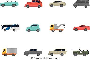 couleur, plat, icônes, -, voitures