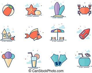 couleur, plat, -, plage, icônes