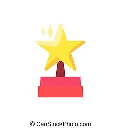 couleur, plat, podium, étoile, illustration