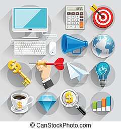 couleur, plat, set., icones affaires