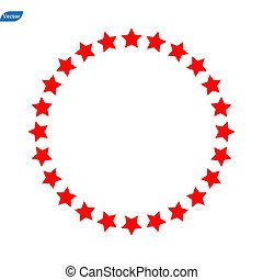 couleur, plat, style., app, site, blanc, toile, arrière-plan., étoile, symbole., logo, rouges, ensemble, ui., conception, ton, signe., cercle, roue, icône