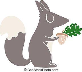 couleur, plat, style, dessin animé, écureuil