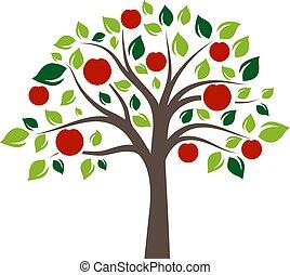 couleur, plat, unique, arbre, pomme