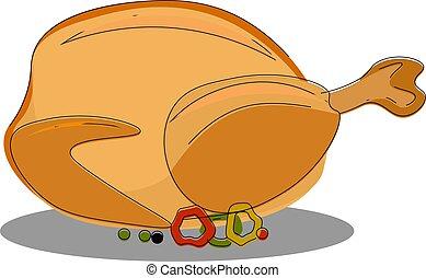 couleur, pleinement, illustration, vecteur, poulet grillé, ou