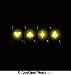 couleur, poker, vecteur, signe