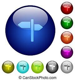 couleur, poteau indicateur, verre, boutons