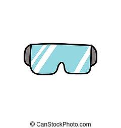 couleur, protecteur, icône, illustration, griffonnage, vecteur, lunettes