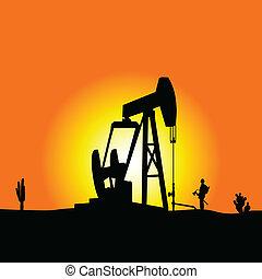 couleur, puits de pétrole, vecteur