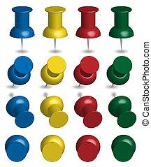 couleur, pushpins, ensemble