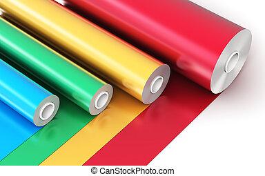couleur, pvc, bande, rouleaux, plastique