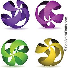 couleur, quatre, rayé, wireframe, spheres.