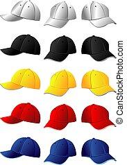 couleur, quelques-uns, tourner, casquettes