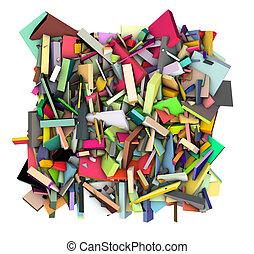 couleur, résumé, arc-en-ciel, fragmenté, toile de fond, 3d, forme
