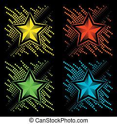 couleur, résumé, ensemble, étoiles