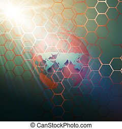 couleur, résumé, research., conception, hexagonal, technologie, pointillé, concept., modèle, arrière-plan., connecter, médecine, vector., points, globe, molécule, sombre, mondiale, structure, monde médical, lignes, vert, chimie