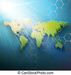 couleur, résumé, research., conception, hexagonal, technologie, pointillé, concept., modèle, arrière-plan., connecter, médecine, vector., points, molécule, sombre, mondiale, structure, monde médical, lignes, carte, vert, chimie