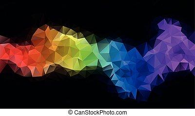 couleur, résumé, spectre, poly, bande, bleu, arc-en-ciel, pourpre, modèle, -, polygonal, jaune, noir, bas, vert, entiers, triangle, fond, horizontal, rouges, coloré, irrégulier, vecteur, toile de fond