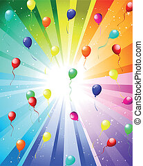 couleur, rayons, fête