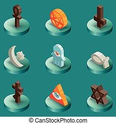 couleur, religions, isométrique, icônes