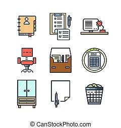 couleur, remplir, ensemble, bureau, icône