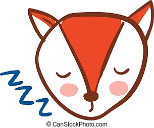 couleur, renard, illustration, dormir, vecteur, ou