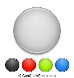 couleur, rond, poitrine, vecteur, vide, blanc, écusson, template.