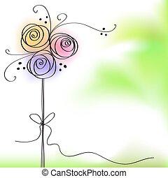 couleur, rose, flowe, carte voeux