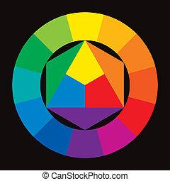 couleur, roue, arrière-plan noir