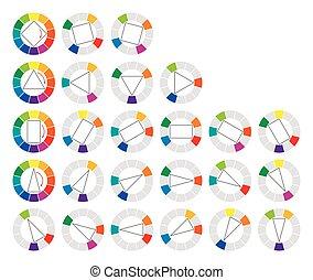 couleur, roue, géométrique, formes