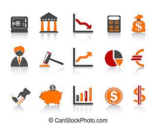 couleur, série, simple, banque, icônes