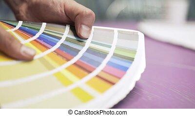 couleur, s, diagramme, architecte, mains, vue côté