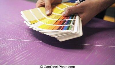 couleur, s, homme, diagramme, mains