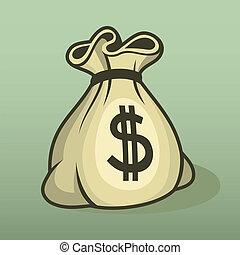 couleur, sac argent, vector., icône