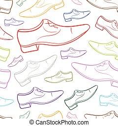 couleur, seamless, 2, contours, mâle, chaussure