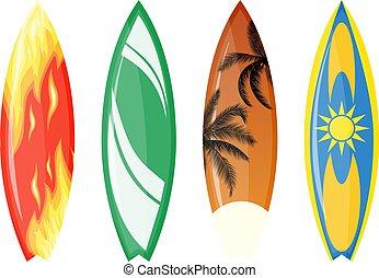 couleur, set., planche surf