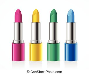 couleur, set., vecteur, rouge lèvres