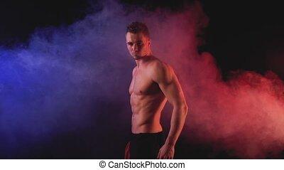 couleur, sexy, enfumé, fond, homme