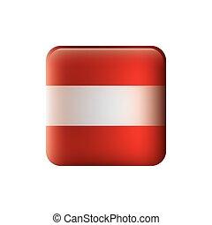 couleur, silhouette, à, drapeau, de, autriche, dans, forme carrée