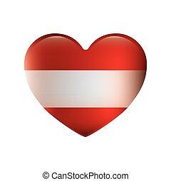 couleur, silhouette, à, drapeau, de, autriche, dans, forme coeur