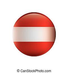couleur, silhouette, à, drapeau, de, autriche, dans, rond, forme