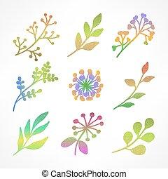 couleur, silhouettes, ensemble, blanc, branche