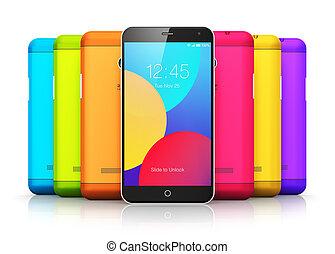 couleur, smartphones, dos, couvertures