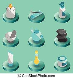 couleur, spa, isométrique, icônes