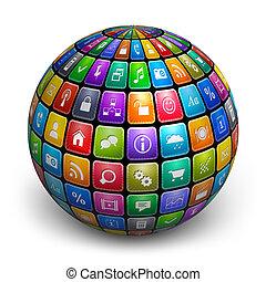 couleur, sphère, application, icônes